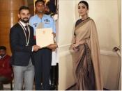 खेल रत्न अवॉर्ड 2018, एथनिक लुक में छाई अनुष्का शर्मा, देखिए विराट का भी लुक