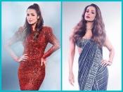 ब्लू शिमरिंग साड़ी और रेड सीक्वेंस ड्रेस में बेहद खूबसूरत लग रही हैं मलाइका अरोड़ा