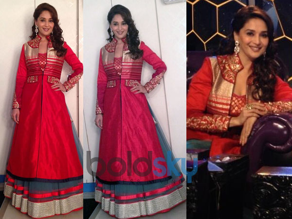 Madhuri Dixit In Red Lehenga Jacket