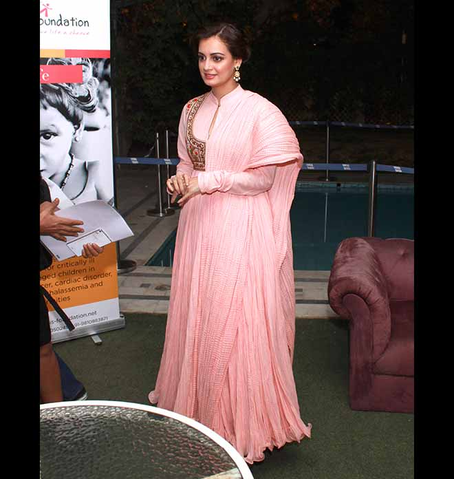 Gorgeous Dia Mirza In A Beautiful Pink Anarkali Suit