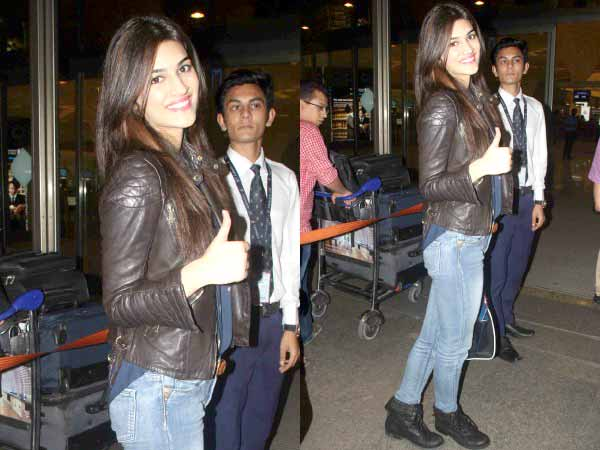 Kriti Sanon Showing Off Their Leather Jackets