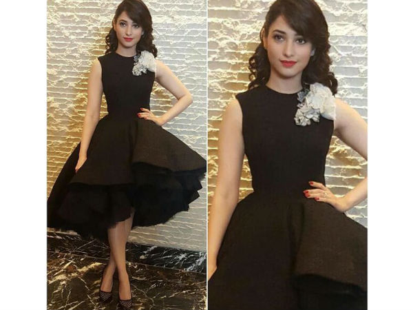 bahubali promotions tamannaah bhatia wearing hot black dress