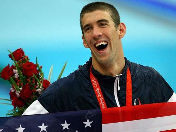 Michael Phelps with american flag