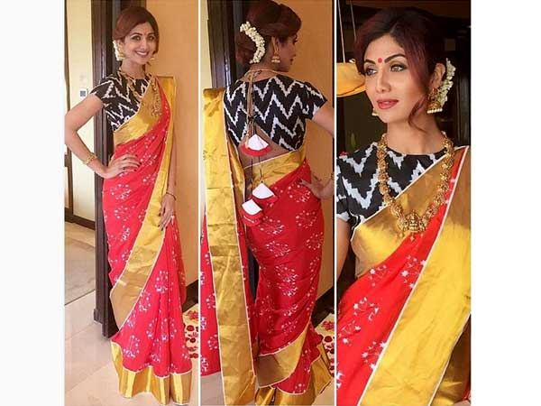 Shilpa Shetty Dressed Traditionally In Saree!