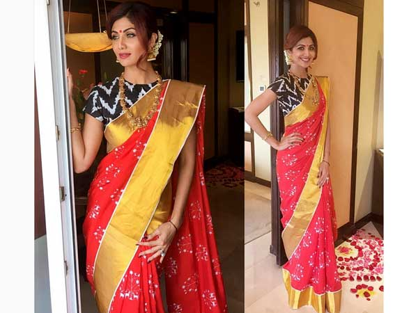 Shilpa Shetty Dressed Traditionally In Saree!2
