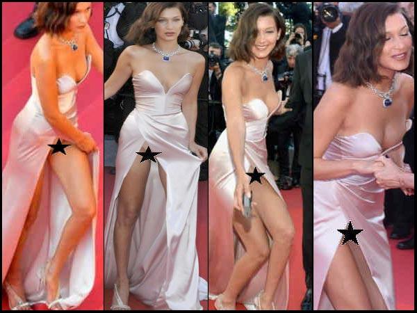 #Cannes 2017:  सुपर मॉडल बेला हेडिड ने रेड कार्पेट पर ऐसा दिया पोज कि दिख गई Nude Panty