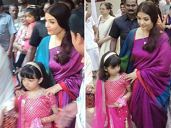 Aishwarya and daughter Aaradhya go the traditional way for Durga Puja