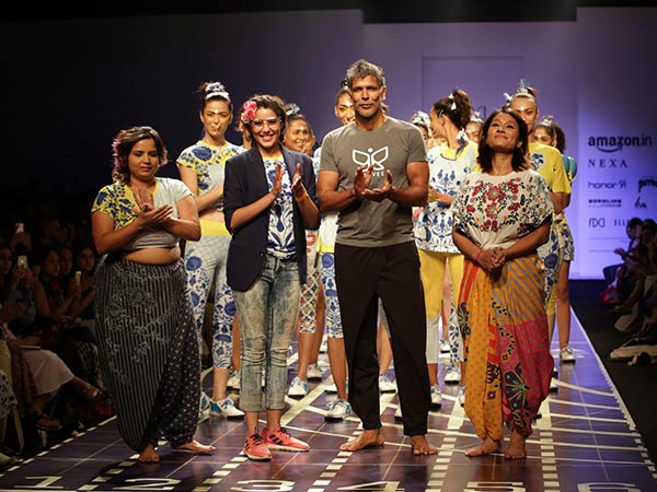 milind soman at amazon india fashion week