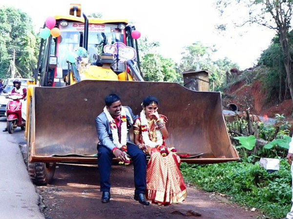 Karnataka Puttur man takes his bride for a ride on a JCB