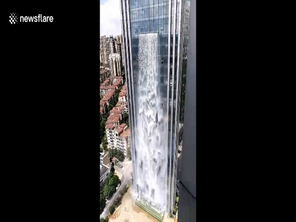 Video Of The Worlds Highest Man-made Waterfall On A Chinese Skyscraper