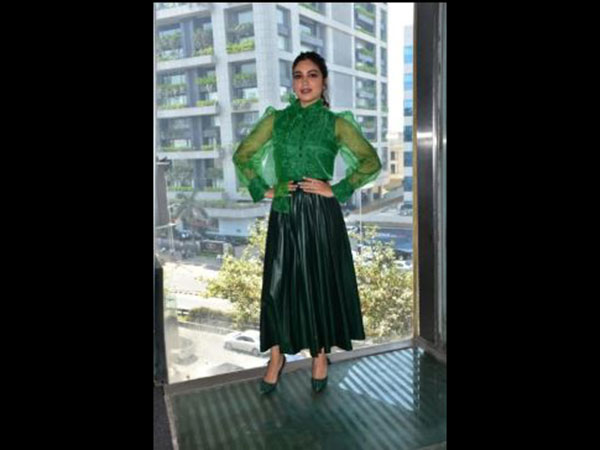 Bhumi Pednekar in disastrous shades of green at Sonchiriya event