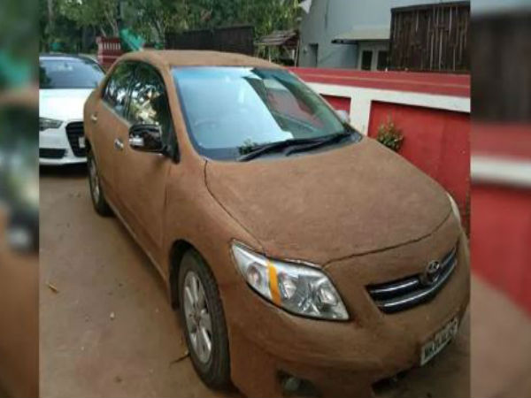 Car owner coats vehicle with cow dung to keep it cool; pics viral