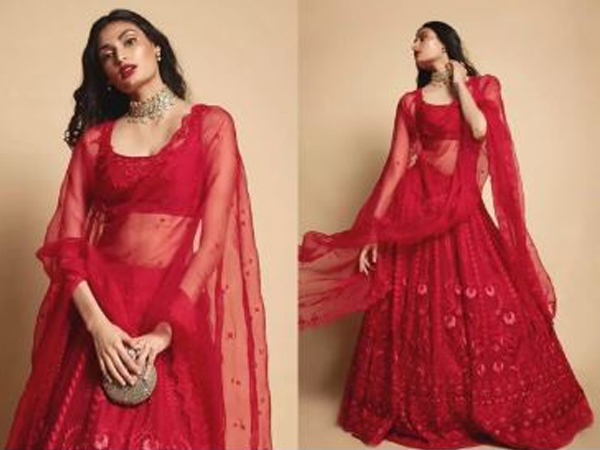 This red monotone lehenga is perfect for your first Karwa Chauth