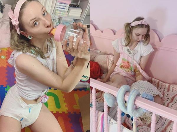 OMG! क्या बवाल है- 25 साल की लड़की पहनती है डायपर और सोती है पालने में, फोटो वायरल