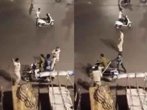 लॉकडाउन के बीच घूमने निकले दो दोस्त, पुलिस ने कर दी धुनाई, वीडियो वायरल