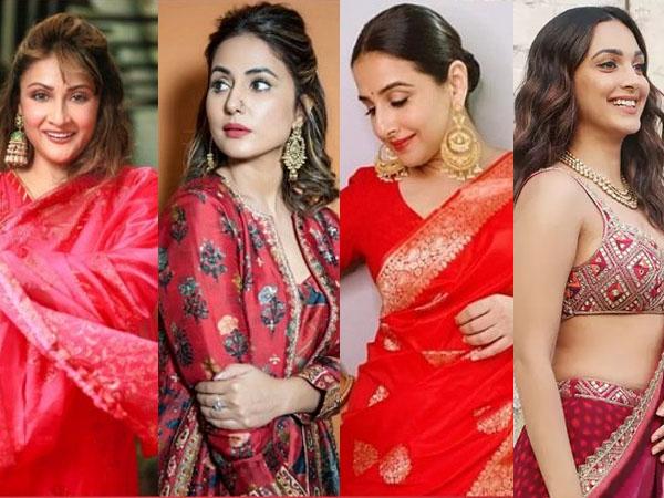 नवरात्रि स्पेशल: कन्या पूजन के दौरान हिना खान और विद्या बालन के इन रेड आउटफिट को करें फॉलो