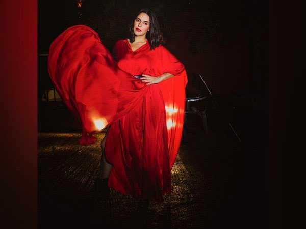 Neha Dhupia Looks Stunning In Red Maxi Dress