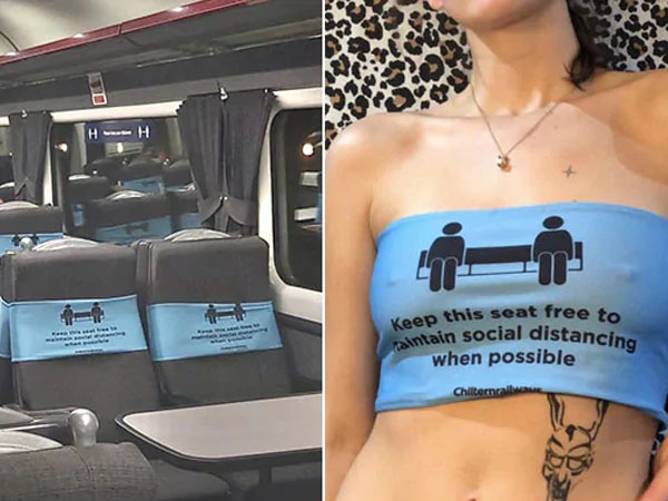 UK based woman sells social distancing signs taken from train as crop tops