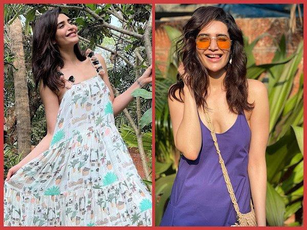 पर्पल और व्हाइट ड्रेस में समर्स फैशन गोल्स सेट कर रही हैं करिश्मा तन्ना