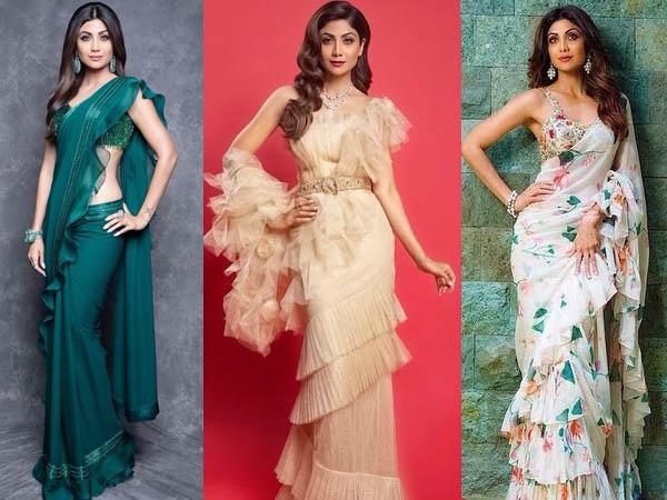 शिल्पा शेट्टी की तरह इंडो वेस्टर्न साड़ी में फ्लॉन्ट करना फिगर,  रफल साड़ी पहनते समय इन बातों का रखें ध्यान