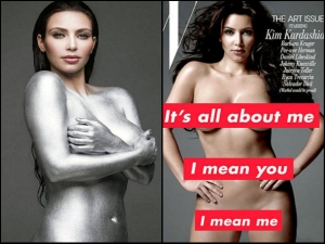 Kim Kardashian Goes Nude With Silver Paint