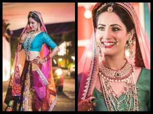 Puja Banerjee S Engagement Lehenga Is The Most Unique Multi Coloured Lehenga