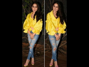 Sara Ali Khan Wore Yellow Crop Top With Blue Jeans Kedarnath Bash