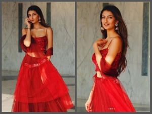 Shweta Tiwari Daughter Palak Looks Smoking Hot Red Lehnga