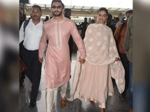 Ranveer Deepika Pink Hued Airport Ethnic Outfits Bengaluru
