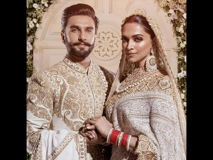 Deepika Ranveer Dazzles Matching Gold White Outfits At Mumbai Reception