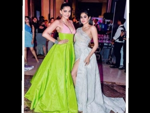 Janhvi Sonam Kapoor Make Heads Turn Swarovski Taffeta Gowns At Hello Hall Of Fame Awards