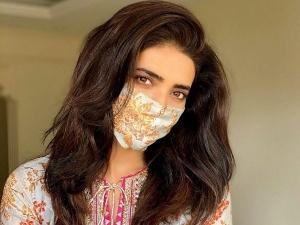 Karishma Tanna Wear Printed Kurti With Matching Mask In The Covid 19 World