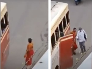 Viral Video Kerala Woman Wins Hearts By Stopping Bus For Blind Person