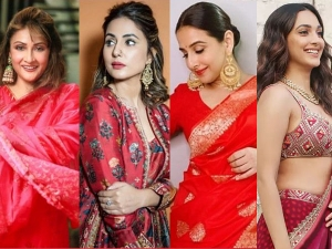 Vidya Balan And Hina Khan Red Outfit Perfect For Navratri Ashtami Kanya Pujan