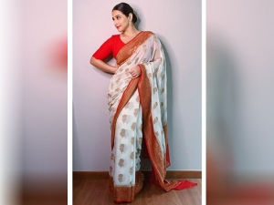 Vidya Balan Looks Stunning In White Banarasi Saree On Navratri