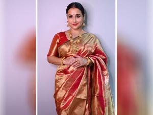 Vidya Balan In Orange Silk Saree For Navratri