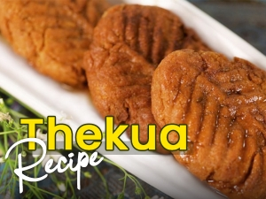 Easy Thekua Or Khajur Recipe In Hindi