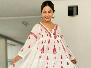 Hina Khan Red And White Kurta Set Is Perfect Christmas Gift For Ethnic Lover Friend