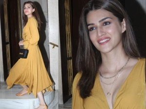 Kriti Sanon Chic Look In Mustard Yellow Summer Dress