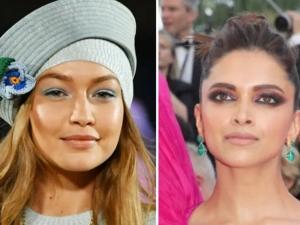Gigi Hadid Deepika Padukone Celebrities Sported Colourful Eyeshadow Nude Lips Looks