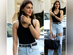 Kriti Sanon Looks Beautiful In Distressed Jeans And Racer Back Black Bodysuit