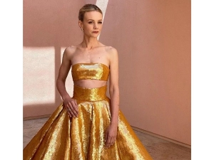 Carey Mulligan Wears A Golden Sequin Gown To The Oscars