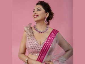 Bollywood Actress Madhuri Dixit Nene Looks Stunning In Pink Metallic Lehenga