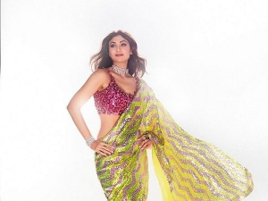 Shilpa Shetty Kundra Looks Stunning In Pink And Green Sequin Saree