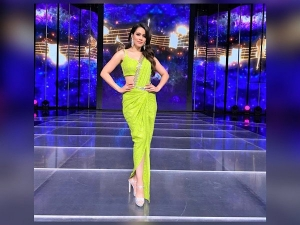 Waluscha De Sousa Wear Lime Green Saree For Indian Pro Music League