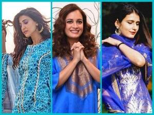 Aahana Kumra Dia Mirza Fatima Sheikh Gorgeous Blue Kurta Set For Eid
