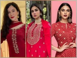 Gauhar Khan Mouni Roy And Aditi Rao Hydari Red Kurta Set Looks
