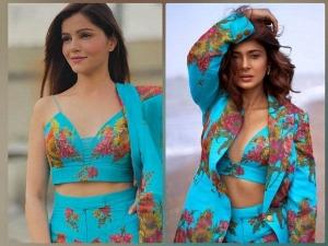 Jennifer Winget And Rubina Dilaik Wear Same Floral Printed Blue Pantsuit