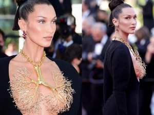 Bella Hadid Bold Lungs Neckpiece Look At Cannes Film Festival Will Leave You Speechless
