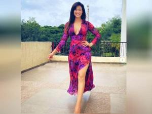 Shweta Tiwari Look Bold In Floral Print Deep Neck Dress